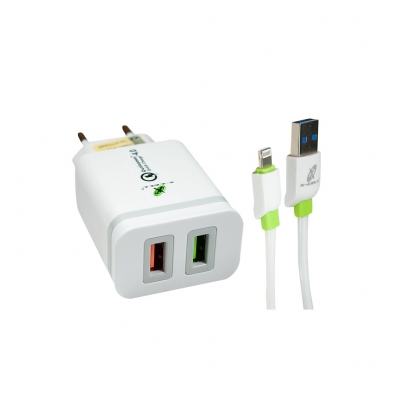 Carregador Ultra Rápido Qualcomm Quick Charge 4.0 C/ 2 USB + Cabo Lightning Iphone - XC-UR-18 - X-Cell